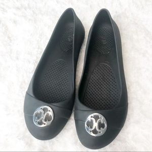 Crocs Slip On Medalion Shoes in Black Size 8W.
